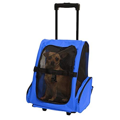 YiiJee Pet Travel Rucksack Tasche Cat Puppy Dog Carrier Trolley und Teleskopgriff Tragbare Haustierbeutel (Blau, 14)