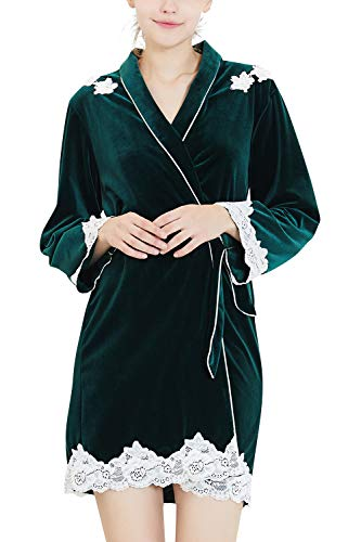 YAOMEI Damen Morgenmantel Bademäntel Kimono, Winter SAMT Spitze Nachtwäsche Nachthemd Robe Kimono Negligee locker Schlafanzug für Spa Hotel Sauna Brautjungfer, Party, Bridal Shower (Medium, Grün)