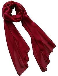 6a86b09f3c05 Nella-Mode Uni-Farbener Seidenschal, ca. 180x50 cm  Schal aus reiner Seide   Weiss, Schwarz, Lila, Rot, Blau,…