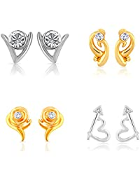 Mahi Gold & Rhodium Plated Combo Of Four Stud Earrings With Crystals For Women CO1104628M