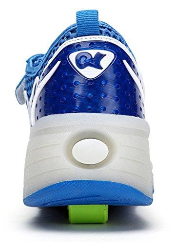 NEWZCERS Sommer Unisex Erwachsene Kinder LED Rollschuhe Schuhe Sport Laufschuhe Turnschuhe Blau