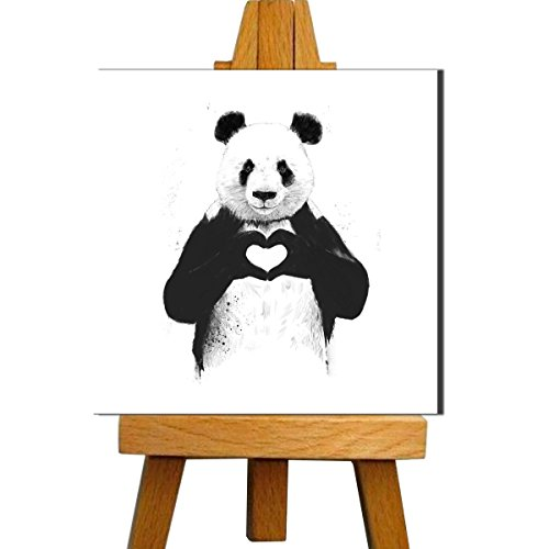 Best Valentine's Day Gift - Panda in Love - Premium Quality Gallery Wrap Canvas Art Print With Mini Easel Stand by Tallenge (8