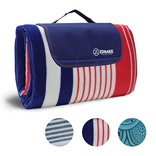 Picknickdecke wasserdicht sanddichte Fleece 200x200/150 Outdoor XXL Campingdecke Stranddecke (Rot und Blau 200 x 150cm)