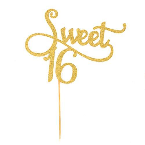 ten Kuchen Topper Aufsatz Sweet 16 Geburtstag Deko - Gold mit Glitzereffekt Muffin Cupcake Dekoration ()