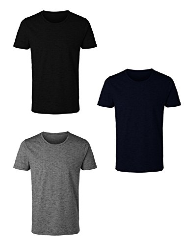 3 t-shirt uomo mezza manica girocollo caldo cotone interlock enrico coveri art. et1200 (5/l, assortito)