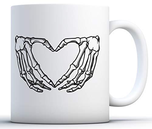 Schädel Kostüm Zucker Skelett - Ungewöhnliche Styles Hand Skeleton Heart Becher Skelett Kaffee Tasse Totenkopf Zubehör 11 oz weiß
