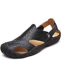Onfly Hombres Chicos Estilo británico Dedo del pie cerrado Cuero Casual Sandalias Zapatillas Antideslizante Respirable Para caminar Al aire libre Sandalias Zapatos de agua Zapatillas de deporte ocasionales , black , 44