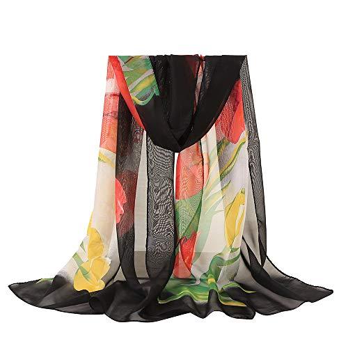 CAOQAO Damen Mode Tuch aus Chiffon Blume Drucken Lange Weiche Wrap Tuch aus Chiffon für Schals Sommerschal Übergangsschal Hohe Qualität