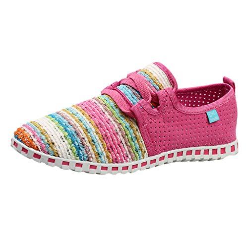 Mymyguoe Damen Bunte Gewebte Schuhe Leichte Laufschuhe Sneakers Einzelne Schuhe beiläufige Frühling und Herbst Geflochtenes Seil Low Schuhe Schlüpfen Gemütlich rutschfest - Brown-blumen-mädchen-schuhe