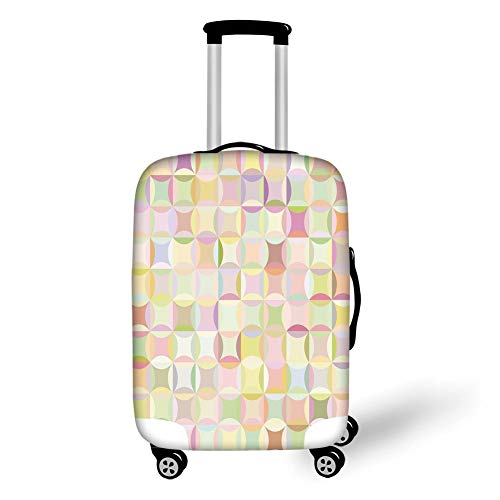 Travel Luggage Cover Suitcase Protector,Pastel,Retro Pattern with Polka Dots Overlapping Ring Shapes Squares Colorful Funky Print Decorative,Multicolor,for Travel M Polka Rose Square