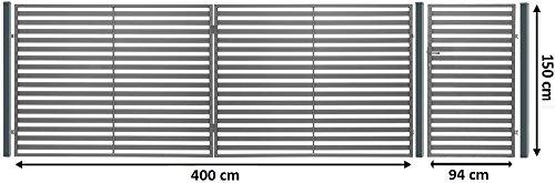 """Luxus4Home """" Berlin """" 6,10m Doppelflügeltor AUTOMATIK Komplett Set Durchfahrt 4m inkl. Pforte 0,94m, 3 Natursteinpfosten mit jeweils 0,38m Breite, 1 Pforte 0,94m mit Beschlag, Anschlag und Schloß, inkl. Antrieb Motor mit 2 Fernbedienungen"""