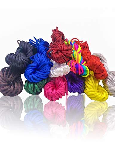 12 Knäuel Satin-/Nylongarn in verschiedenen Farben, 2 mm dickes Garn, insgesamt etwa 109,8 m, geeignet für die Schmuckherstellung - Dicke Insgesamt
