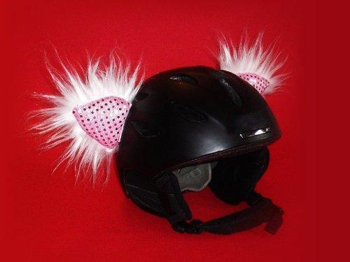 Helm - Ohren 'Deluxe' für den Skihelm, Snowboardhelm oder Fahrradhelm - 'Fellohren Skihase/ Katze' - Coole Helmdeko / Plüschohren!