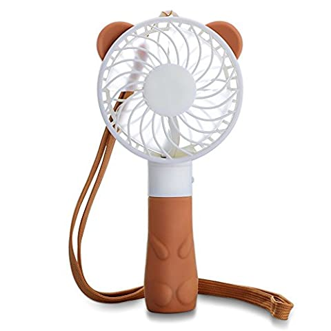 Handheld Portable Fan ,Cute Bear TEMPO Mini USB Rechargeable Personal Electric Table Fan  for Office,Study,Outdoors and Travel,Built-in  Rechargeable Battery, 4 Blades, 1 Switch, 2 Speeds Adjustable-Brown