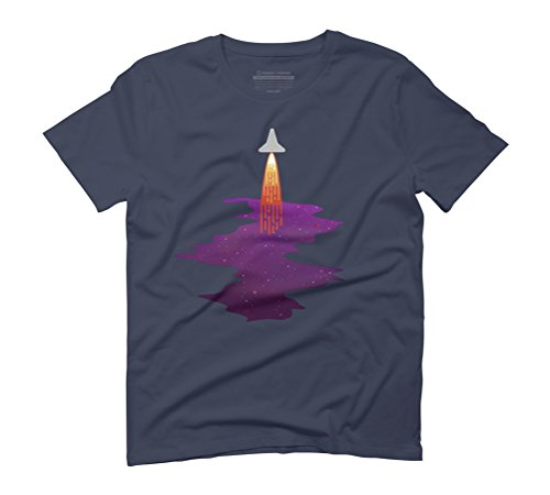 Rocket Leaving Space T-Shirt Men's Graphic T-Shirt - Design By Humans Navy