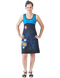 Damen bunten ärmellose Spirale Stickereikleid - BLUE POPPY