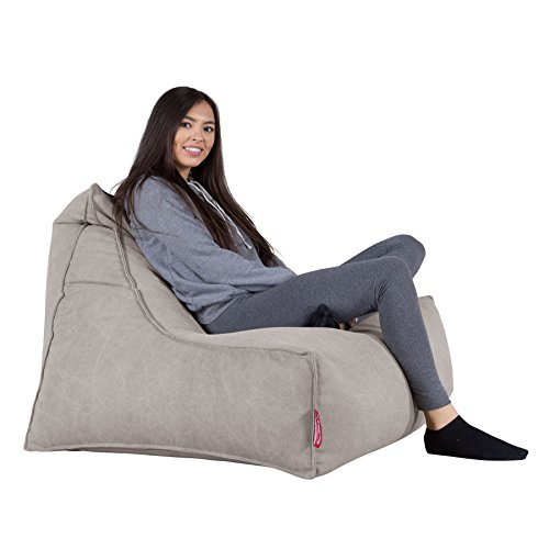 Lounge Pug, Sitzsack Lounge Sessel, Stonewashed-Stoff Pewter