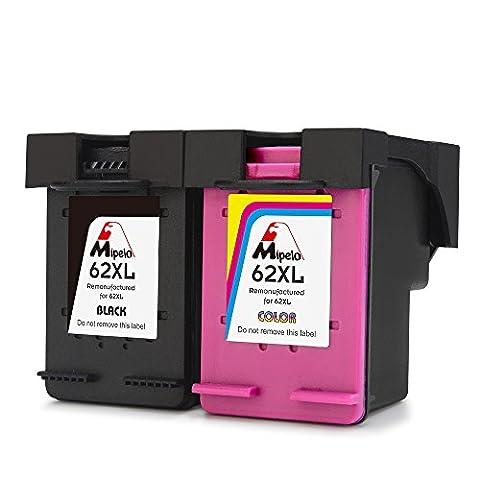 Mipelo Remanufactured HP 62XL Cartouches d'encre (1 Noir, 1 Tricolore) Compatible avec HP ENVY 5640 5642 7640 5540, HP OfficeJet 5740 200 Imprimante