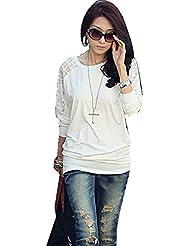 Malloom®Mujer manga larga casual batwing dormán encaje suelto blusas Camiseta Tops
