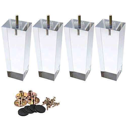 10cm Acryl Tischbeine, La Vane 4 Stück Pyramide Klar Glas Ersatz Möbelfüße Möbelbeine mit vorgebohrten M8 5/16