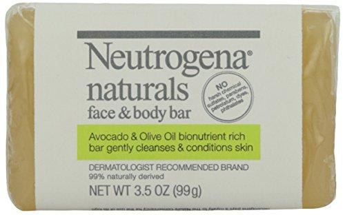 Neutrogena Pain de savon Naturals Face & Body pour le visage et le corps - Enrichi en huile d'olive et en huile d'avocat - 100 g