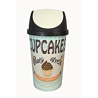 50L SWING BIN, KITCHEN BIN, RETRO, VINTAGE STYLE - CUPCAKE DESIGN SHABBY CHIC