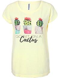 Stitch & Soul Damen T-Shirt mit Aquarell-Kaktus-Print | Basic TShirt | Statement Shirt mit weitem Rundhals-Ausschnitt