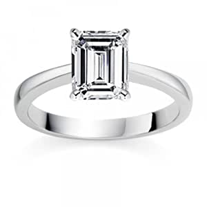 1/4 Carat D/VVS2 Emerald Certified Diamond Solitaire Engagement Ring in 18k White Gold