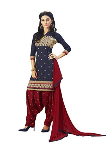 BanoRani Navy Blue & Maroon Color Embroidered UnStitched Dress Material