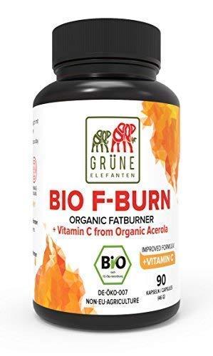 Grüne Elefanten's Bio F-Burn Fettverbrenner mit Bio Grüne Kaffeebohnen, Bio Grüner Tee, Bio Guarana, Bio Acerola, Hochdosiert - 90 Kapseln - Vegan - Gewichtsmanagement