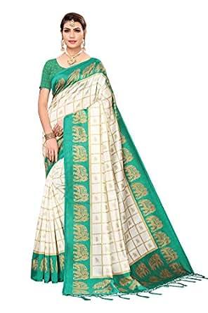 ANNI DESIGNER Silk with Blouse Piece Saree Elephant-Green FS