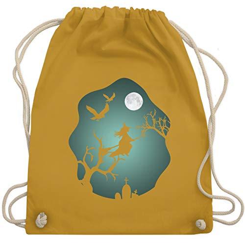 Halloween - Hexe Mond Grusel Grün - Unisize - Senfgelb - WM110 - Turnbeutel & Gym Bag
