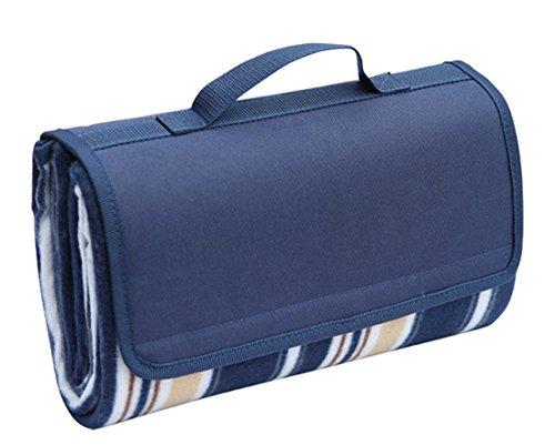 Honeystore Flanell Wasserdichte Yoga Matte Picknickdecke Mit Tragegriff Blau 125*150 CM