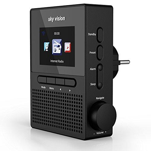 sky vision IR 60 S – Internet-Radio für die Steckdose (Steckdosen-Radio mit WLAN, Plug Web-Radio mit über 25.000 Radiosendern, Bedienung per App, als Radio-Wecker verwendbar), schwarz