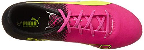 Puma Evospeed 5.5 Tricks Ag Jr, Chaussures de football mixte enfant Rose - Pink (pink glo-safety yellow-black 01)