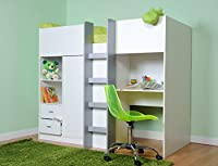 Mrsflatpack Exeter Shorty High Sleeper Bed With Desk Drawers and Wardrobe - No Mattress