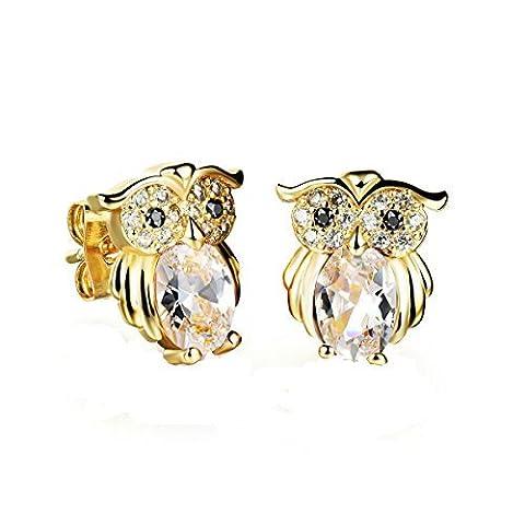 Fate Love cristal Elements Noir Onyx Hibou Boucles d'oreilles clous en or plaqué platine/finition + Boîte Cadeau