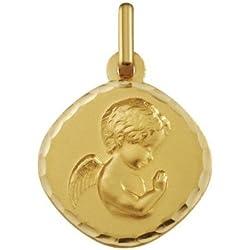 ANGE RAPHAEL PRIANT - Médaille Religieuse - Or 18 carat - Hauteur: 14.5 mm - www.diamants-perles.com