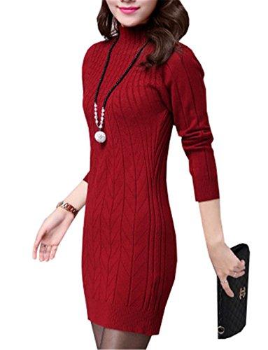 DaBag Vestito in Maglia Manica Lunga Elegante Maglione Knit Abiti Autunno Inverno Donna Dolcevita Abito Casuale Sweater Vestiti Simpatici Maglietta Top Maglieria Slim Tinta Unita lunghe Felpe Rosso