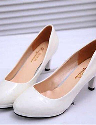 WSS 2016 Chaussures Femme-Bureau & Travail / Habillé-Noir / Blanc-Kitten Heel-Talons-Talons-Similicuir white-us8.5 / eu39 / uk6.5 / cn40