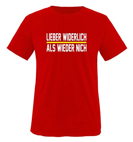 Comedy Shirts - LIEBER WIDERLICH - ALS WIEDER NICH - Herren T-Shirt - Rot / Weiss-Gelb Gr. XL (Wieder Gelbe T-shirt)