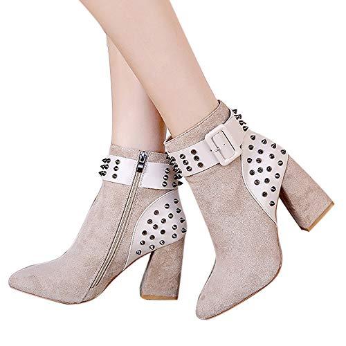 OSYARD Onlineshop Damenmode,Kurze Stiefel Damen Wildleder Warm Winter Flandell, Mode Martin Stiefel Frauen Nieten Plateauschuhe Party Stiefeletten High Heels Boots (240/39, Beige)