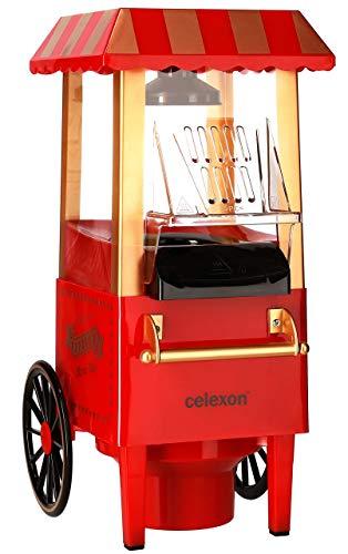 celexon machine à Popcorn CinePop CP500-24x19x39,5cm - Poids:1,7kg - Rouge/Design rétro - sans huile/faible en graisse - Popcorn-Maker