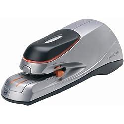 Rexel Optima 20 2102350 - Grapadora eléctrica, capacidad para 20 hojas, Incluye pack 1000 grapas Rexel Optima 26/6, 28.8 x 17.7 x 14 cm, color plateado y negro
