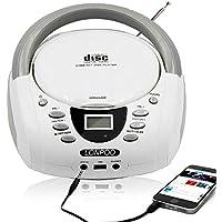 LONPOO LP-D001 Protable CD Boombox Bluetooth / Radio FM / USB / AUX-IN Entrada y salida de auriculares Jack con sonido estéreo Altavoz Reproductor de audio