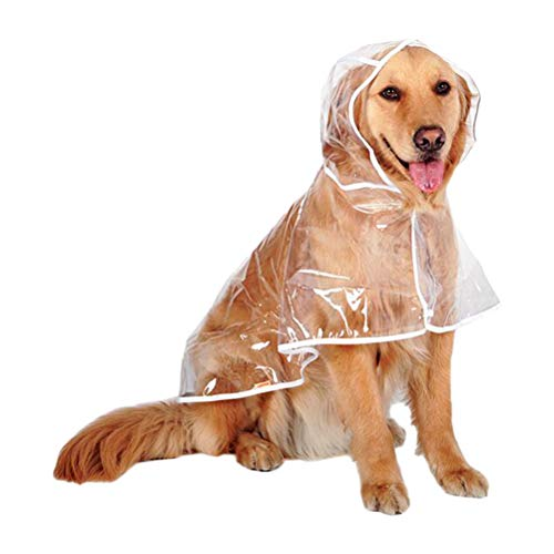 Deylaying Cane Impermeabile Trasparente Waterproof Con Cappuccio - Labrador Brittany Golden Retriever Samoiedo Husky Akita