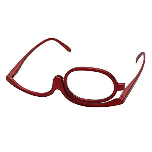 logres Lupen Make-up Glas zusammenklappbar Brillen Kosmetik Allgemeine, drehbar Monocle, Single Objektiv Lesebrille, rot
