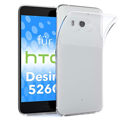 EAZY CASE HTC Desire 526G Dual SIM Schutzhülle Silikon, Ultra dünn, Slimcover, Handyhülle, Silikonhülle, Backcover, Durchsichtig, Klar Transparent