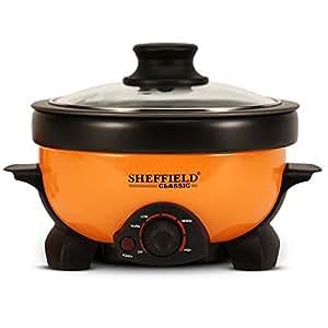 Sheffield Classic 3-In-1 Aluminum Multi-Cooker 1.1 L(Boil, Grill, Fry) 800W, 10-inches, Orange