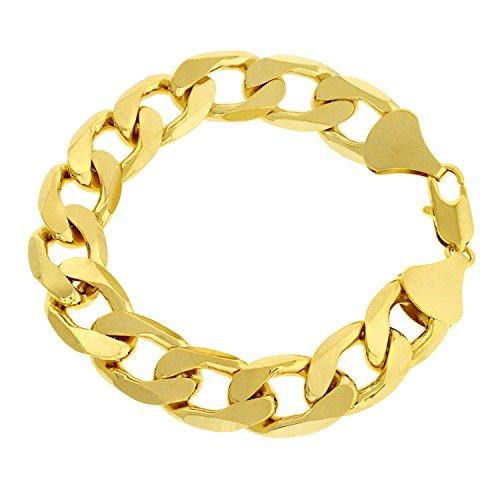 Sejin - sg1208 - braccialetto in oro 18 ct,di larghezza 12mm, anti sbiadimento, bellissima idea regalo per la festa del papà, per natale e compleanno e oro giallo, cod. 0758614023488